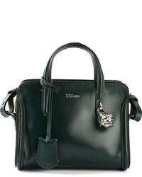 dunkelgrüne Lederhandtasche von Alexander McQueen