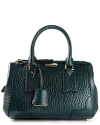 dunkelgrüne Lederhandtasche von Burberry