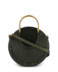dunkelgrüne Lederhandtasche von Chloé