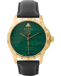 dunkelgrüne Lederuhr von Gucci