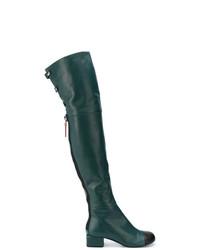 dunkelgrüne Overknee Stiefel aus Leder von Marni
