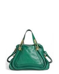 dunkelgrüne Satchel-Tasche aus Leder