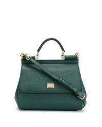 dunkelgrüne Satchel-Tasche aus Leder von Dolce & Gabbana