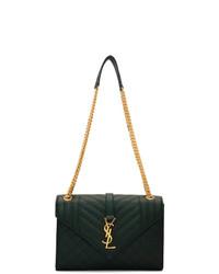 dunkelgrüne Satchel-Tasche aus Leder von Saint Laurent