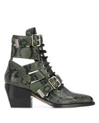 dunkelgrüne Schnürstiefeletten aus Leder von Chloé