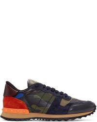 dunkelgrüne Segeltuch niedrige Sneakers