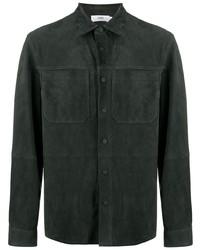 dunkelgrüne Shirtjacke aus Leder von Closed