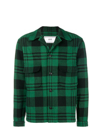 dunkelgrüne Shirtjacke mit Schottenmuster von AMI Alexandre Mattiussi