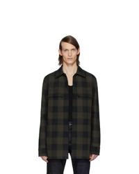 dunkelgrüne Shirtjacke mit Schottenmuster von Bottega Veneta