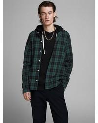 dunkelgrüne Shirtjacke mit Schottenmuster von Jack & Jones