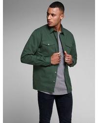 dunkelgrüne Shirtjacke von Jack & Jones