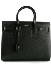 dunkelgrüne Shopper Tasche aus Leder