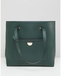dunkelgrüne Shopper Tasche aus Leder von New Look