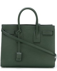 dunkelgrüne Shopper Tasche aus Leder von Saint Laurent