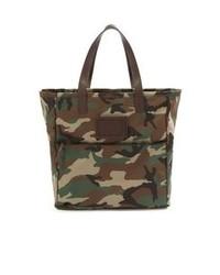 dunkelgrüne Shopper Tasche aus Segeltuch