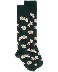 dunkelgrüne Socken mit Blumenmuster von Marni