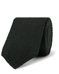 dunkelgrüne Strick Krawatte von Brioni