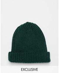 dunkelgrüne Strick Mütze von Reclaimed Vintage