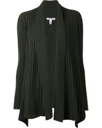 dunkelgrüne Strick Strickjacke mit einer offenen Front