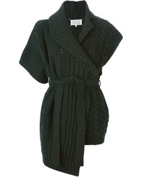 dunkelgrüne Strick Strickjacke mit einer offenen Front von Maison Margiela