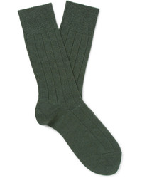dunkelgrüne Strick Wollsocken