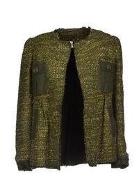 dunkelgrüne Tweed-Jacke