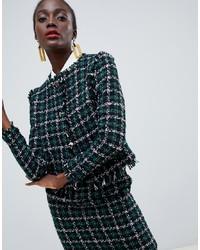 dunkelgrüne Tweed-Jacke von Warehouse