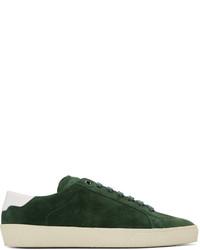 dunkelgrüne Wildleder niedrige Sneakers