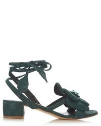 dunkelgrüne Wildleder Sandaletten