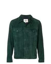 dunkelgrüne Wildledershirtjacke