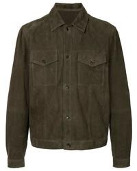 dunkelgrüne Shirtjacke aus Wildleder von Bally
