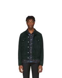 dunkelgrüne Shirtjacke aus Wildleder von Paul Smith