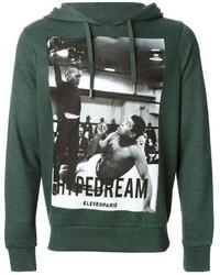 dunkelgrüner bedruckter Pullover mit einem Kapuze