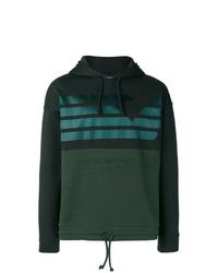 dunkelgrüner bedruckter Pullover mit einem Kapuze von Emporio Armani