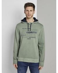 dunkelgrüner bedruckter Pullover mit einem Kapuze von Tom Tailor