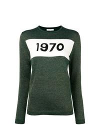dunkelgrüner bedruckter Pullover mit einem Rundhalsausschnitt von Bella Freud