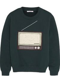 dunkelgrüner bedruckter Pullover mit einem Rundhalsausschnitt von Carven