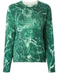 dunkelgrüner bedruckter Pullover mit einem Rundhalsausschnitt von EACH X OTHER