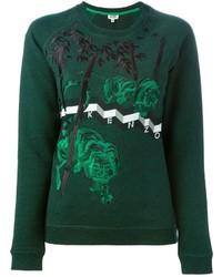 dunkelgrüner bedruckter Pullover mit einem Rundhalsausschnitt von Kenzo