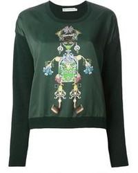 dunkelgrüner bedruckter Pullover mit einem Rundhalsausschnitt von Mary Katrantzou
