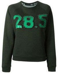 dunkelgrüner bedruckter Pullover mit einem Rundhalsausschnitt