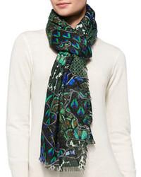 dunkelgrüner bedruckter Schal