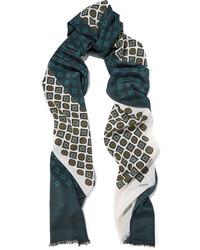 dunkelgrüner bedruckter Schal von Lanvin
