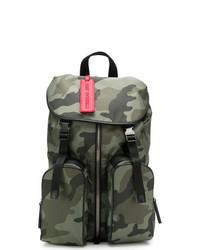 dunkelgrüner Camouflage Leder Rucksack