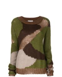 dunkelgrüner Camouflage Pullover mit einem Rundhalsausschnitt von Faith Connexion