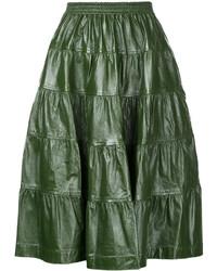 dunkelgrüner Falten Midirock aus Leder