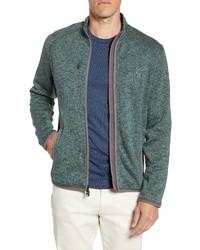 dunkelgrüner Fleece-Pullover mit einem Reißverschluß
