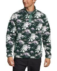 dunkelgrüner Fleece-Pullover mit einem zugeknöpften Kragen von Eddie Bauer