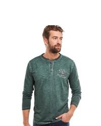 dunkelgrüner Henley-Pullover von ENGBERS
