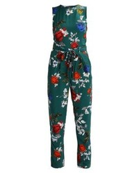 dunkelgrüner Jumpsuit mit Blumenmuster von Dorothy Perkins